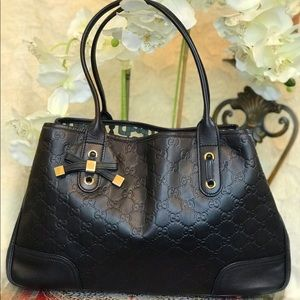 GUCCI Princy Black Leather Tote